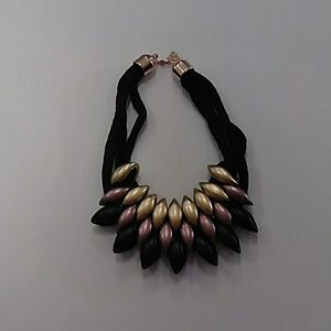 Black gold and bronz statement necklace